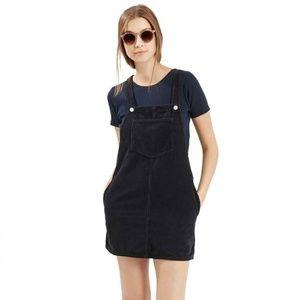 TOPSHOP Pinafore Corduroy Mini Dress   Black